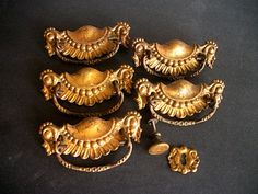 Vintage Drawer Pulls and Hardware in Brass by VintageHomeShop, $34.00