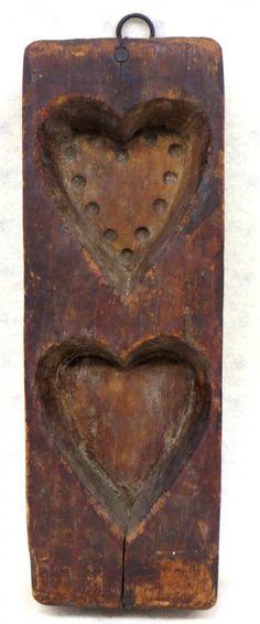 Primitive double heart maple sugar mold