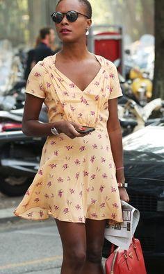 Shala Monroque wearing Prada dress at #mfw #streetstyle