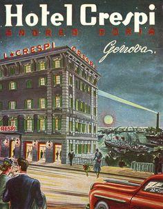 Hotel Crespi genova italy vintage art deco luggage label