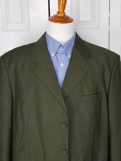 e9e1032cd01 Vittorio St. Angelo Mens Green Sports Coat Suit Jacket Blazer Size 50R # fashion #
