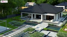 House Roof Design, Home Building Design, Unique House Design, Building A House, Model House Plan, My House Plans, House Floor Plans, Modern Family House, Modern Bungalow House