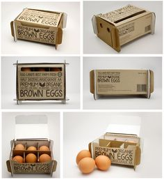 "Egg Land's Best | Jessica Tate ""The half dozen egg packaging uses soy based dyes, recycled corrugated cardboard and no glue."""