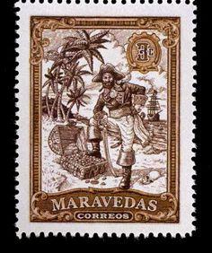 Maravedas 3c  Pirate Cinderella 2011 Stamp by Colin Edwards Custom Postage Stamp Artist United Kingdom Commemorative Art