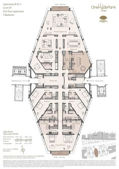 A full floor apartment with almost ten thousand square feet of living space in London's One Hyde Park development. I count five bedrooms, six full baths, and two half baths. Pretty lavish!