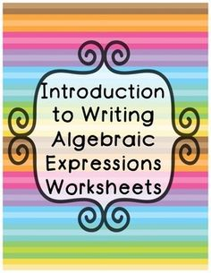 This is a set of differentiated sheets that introduce students to writing expressions using variables. Students are asked to write expressions in standard form and to evaluate them. Based on 6th grade common core standards.