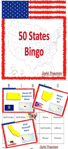 Students will identify each of the 50 states in the US by its shape, location in the US, flag, and motto.  Kids love Bingo, and this is a great way to review the 50 states in this great country!