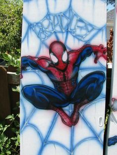 airbrushed spiderman on closet door by AIR-FX AIRBRUSHING