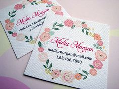 Personalized Floral Business Cards Calling Cards by PikakePress, $20.00