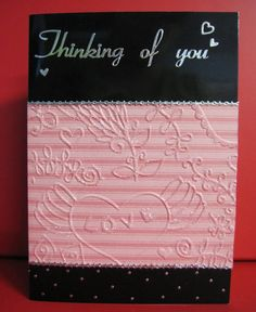 Handmade Card Thinking of You with apricot embossed paper