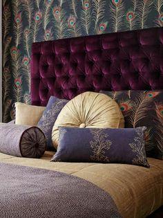 Themis Wallpaper : Sanderson. #color #purple bedroom, bed, decorating, pillows