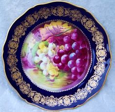 Gorgeous Vintage 1900's Theodore Haviland Limoges France Hand Painted 'Reflecting Purple & Green Grapes' 9-1/8' Cobalt Blue & Heavy Gold Plate by French Artist, 'Rogor'