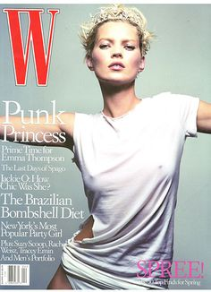 Kate Moss Turns 40 - The princess of the ripped white tee graces W's April 2001 cover, photographed by Craig McDean.