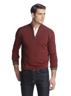 75% OFF Alex Cannon Men's Reversible 1/4 Zip Sweater (Rust Heather)