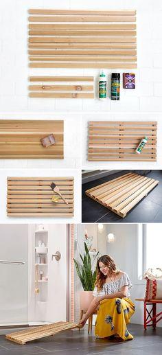 Few existing ideas for DIY Bath Mats Zen Bathroom, Diy Bathroom Decor, Bathroom Styling, Bathrooms, Small Bathroom, Bathroom Ideas, Wooden Bath, Wooden Diy, Wooden Shoe