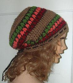 Crochet Rasta Hat Hippie Beret Slouchy Beanie by Guerillagranny 3cb4a7fdd05