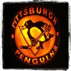 Pittsburgh Penguins Halloween hockey pumpkin