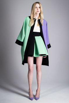 Zendaya's New York Fashion Week Fausto Puglisi Resort 2015 Purple and Green Colorblock Jacket and Skirt Fashion Week, New York Fashion, Love Fashion, Runway Fashion, High Fashion, Fashion Show, Fashion Trends, Fashion Design, Review Fashion