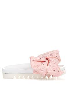 JOSHUA SANDERS Broderie-anglaise bow platform slides. #joshuasanders #shoes #sandals
