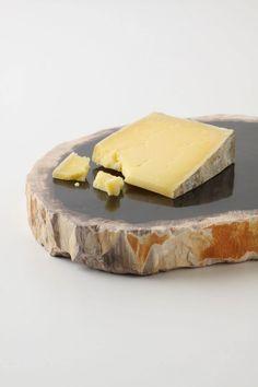 petrified wood cheese tray
