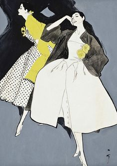René Gruau illustration for Pierre Balmain. @Deidra Brocké Wallace, LOVE!!