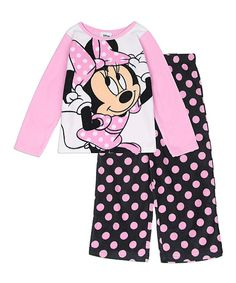 Look at this Pink Polka Dot Minnie Mouse Pajama Set - Toddler on #zulily today!
