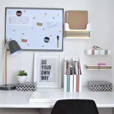 School starts in no time! So, be sure to help your college or university student stand out from the crowd with this very chic and stylish theme to keep college desk areas (or home-offices) organize...