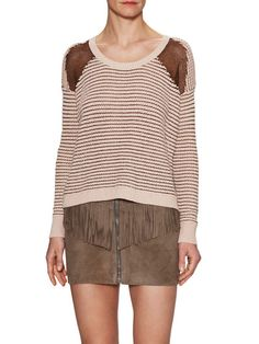 Decorative Metallic Open Knit Sweater by The Kooples at Gilt