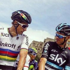 Peter Sagan (in World Champion's jersey) and Chris Froome, Tour de France 2016
