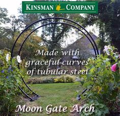 """Inspired by Chinese architecture, the vast circular opening of the Moon Gate arch creates an inviting garden passageway to relaxation and reflection.  84"""" tall in center, 89"""" wide, 20"""" front to back, 47 ½"""" outside across base, 40"""" inside. Includes 4 x 18"""" ground spikes to anchor base plates."""