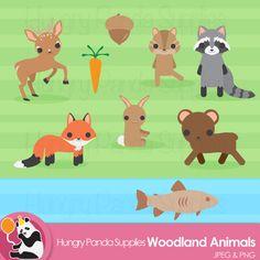 Woodland Animal Clipart, woodland clip art, woodland animals, forest animal clipart, fox clipart