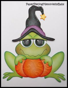 Premade Paper Pieced Halloween Frog for Scrapbook Pages-by Babs