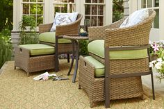 This patio conversation set is perfect for small spaces.  Push the ottomans underneath the seats when they aren't in use!