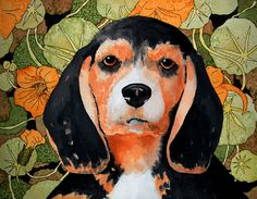 Beagle in Watercolor by Junell Toney