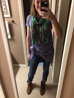 LuLaRoe Carly tied up in a knot with jeans, scarf and some booties. Outfit perfection!