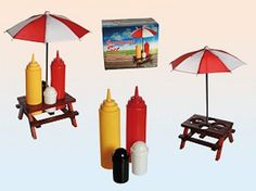 Wooden picnic table with sunshade, plastic salt pepper set, mustard & ketchup bottle by lunasmysticalocean on Etsy