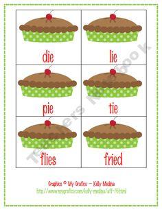 Cherry Pie long vowel /i/ -ie, -igh Word Work