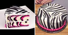 Recept na růžový zebrový dort + video-recept