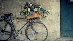 Велосипед с цветами у стены