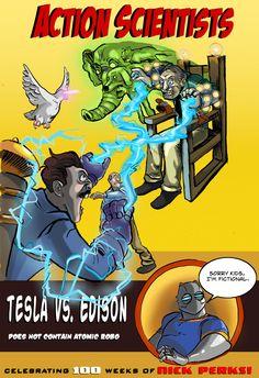 parodia de tapa de revista de comics:Tesla vs.Edison por Nick Perks (un genio de la parodia de superheroes)