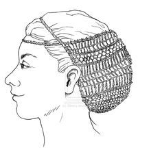 The hair-net from Borum Æshøj made with sprang technique.