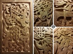 The Norse. Wood carving on Lime, the composition is inspired by the ancient viking carvings, representing mythical creature from the norse culture and celtic knots.  Thanks to Adam Williamson about the supervision and teaching for this piece.  Roberto Conti (Imho) 2014  Design by Imho - Roberto Conti www.imhoprogress.com #inlay,#carving, #wood, #ancient art, #vikings, #design, #wood carving,