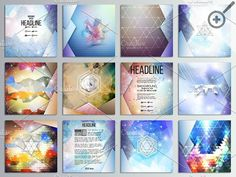 Set of abstract triangular patterns. Creative Business Card Templates