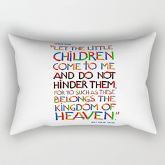 """Let the little children come to me  by Peter Gross  Our Rectangular Pillow is the ultimate decorative accent to any room. Made from 100% spun polyester poplin fabric, these """"lumbar"""" pillows feature a double-sided print and are finished with a concealed zipper for an ideal contemporary look. Includes faux down insert. Available in small, medium, large and x-large."""