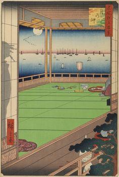 Hiroshige - One Hundred Famous Views of Edo Autumn 82 Moon Viewing (月の岬 Tsuki no Misaki?) Edo Bay Approximately same view as no. 83 1857 / 8 Mita, Minato