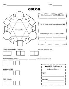 The smARTteacher Resource: Color Worksheet-attach to portfolio and fill in throughout the class/year Middle School Art, Art School, High School, Elements Of Art Color, Color Art, Classe D'art, Art Handouts, Art Rubric, Art Worksheets