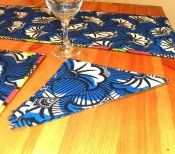 Cotton napkin made with African wax-printed designs, exclusive to Sankofa!