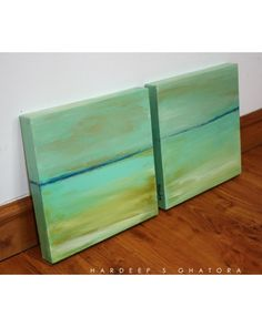 Green abstract painting on canvas - Emerald Views, Original Abstract Art