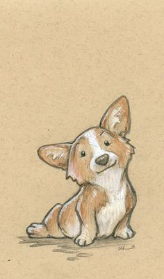 In Which I Gush About Frozen For A Few Minutes Corgi Zeichnung Illustration Corgi Drawing, Cute Dog Drawing, Cute Drawings, Animal Drawings, Drawings Of Dogs, Sketches Of Dogs, Puppy Drawings, Cute Sketches, Paar Illustration