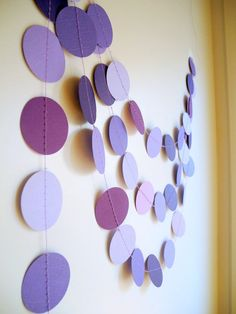 Purple circles paper garland lilac baby shower by HoopsyDaisies. Cute and possibly easy? :)